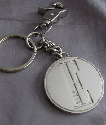 "Letter ""e"" Round Polished Sikver Tone (Stainless) Quick Key Chain1 1/2  X 4 1/2"""