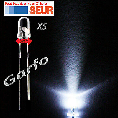 5X Diodo LED 3 mm Blanco 2 Pin alta luminosidad