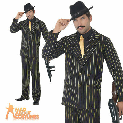 Gold Pinstripe Gangster Costume Godfather Mafia Mens Fancy Dress 20s Outfit New  sc 1 st  PicClick UK & GOLD PINSTRIPE GANGSTER Costume Godfather Mafia Mens Fancy Dress 20s ...
