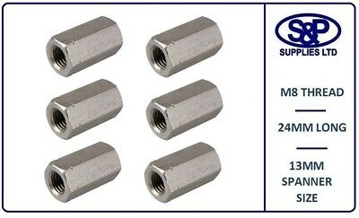 M8 - 8Mm A2 Stainless Steel Stud Connector Hex Deep Nut 24Mm Long 13Mm Spanner