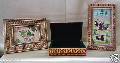 Vintage Set of 3 Inlaid Framed Hunt Scene Painting, Floral Print & Jewelry Box