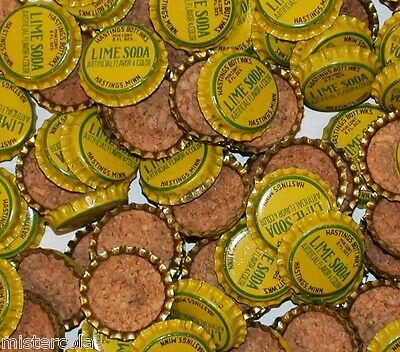 Soda pop bottle caps Lot of 25 HASTINGS LIME SODA cork lined new old stock