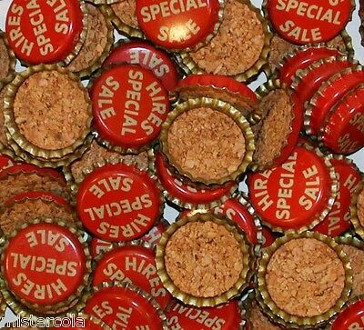Soda pop bottle caps Lot of 25 HIRES root beer SPECIAL SALE cork new old stock
