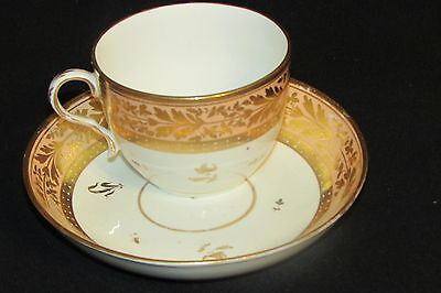 EARLY DERBY CA 1806-1825  SALMON GOLD TEA CUP & SAUCER ELEGANT 19C C