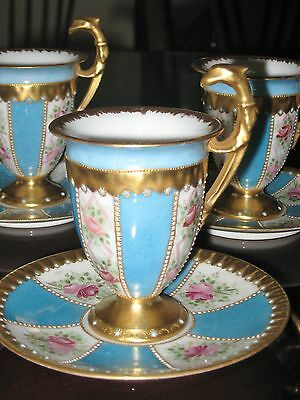 Limoges Eagle Cabinet Cup Handpainted Signed Cup Gold Encrusted Jewels Beads