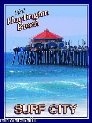 Huntington Beach Pier California Surf United States Travel Advertisement Poster