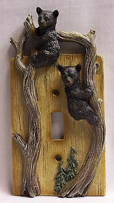 Black Bear Cubs Single Light Switch Plate Cover Rustic Cabin Home - (NAK)