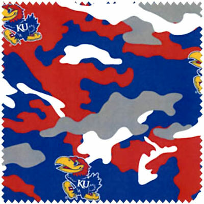 KANSAS UNIVERSITY - CAMO PRINT WITH RED, BLUE & YELLOW SCATTERED JAYHAWKS-KS805