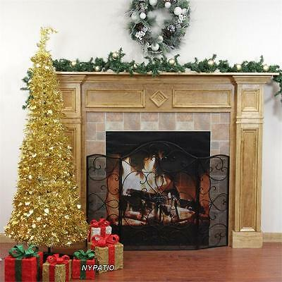 6' PRE-LIT POP UP GOLD TINSEL CHRISTMAS TREE PULL UP 250 CLEAR LIGHTS NEW