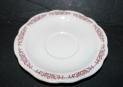 Vintage Buffalo china Restaurtware small saucer white with red desgins