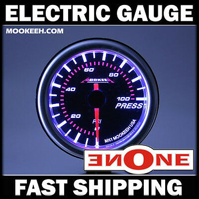 52mm Mookeeh MK1 Electric Fuel Pressure Press 100 psi Gauge