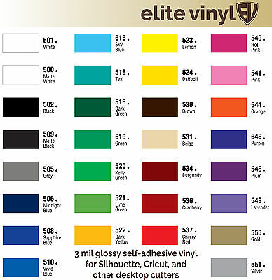 "12"" x 5' Roll Permanent Adhesive Glossy Vinyl for Crafts, Decals, Signs"