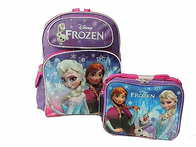 """Disney Frozen Elsa Anna with Snowman 16"""" backpack & Lunch Box - Licensed Product"""