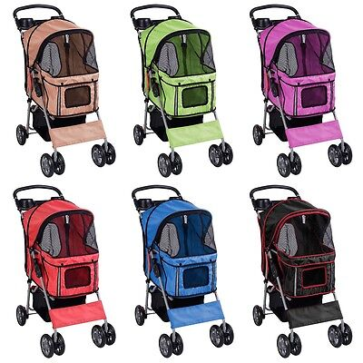 New Pet Stroller Cat Dog 4 Wheels Stroller Travel Folding Carrier 6 Color Choice