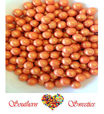 400g ORANGE SHIMMER SIXLETS PEARLY CANDY BALLS  LOLLIES BULK CANDY GLUTEN FREE