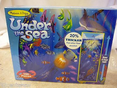 NEW SEALED MELISSA & DOUG UNDER THE SEA 100 PIECE THICK FLOOR PUZZLE 4' TALL