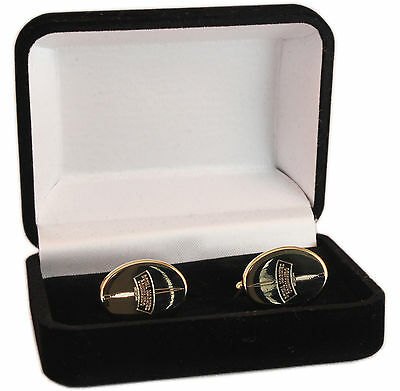 Royal Marines Commando Crest Engraved Cufflinks, Gold Or Silver, New & Boxed