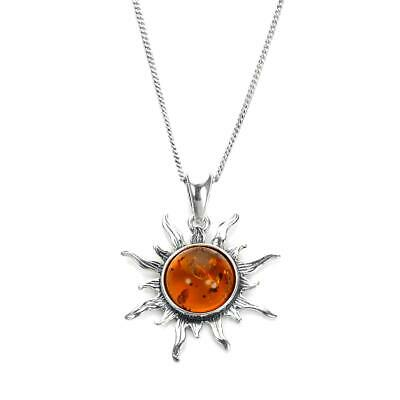 925 Sterling Silver & Baltic Amber Flaming Sun Pendant on Chain / Necklace