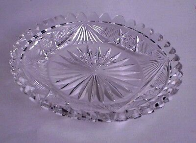 Cut Glass Plate ABC  Small Size  Very Heavy  Excellent Quality Cuttings