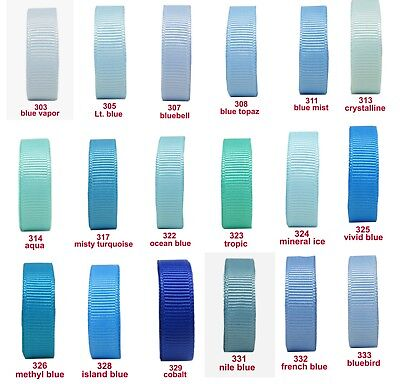 "10y 25mm 1"" Aqua Lt. Blue Shades Premium Grosgrain Ribbon Eco Wedding"