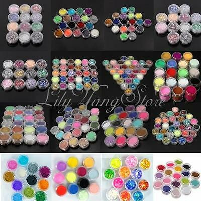 12/18/24 Colors Nail Art Glitter Powder Dust For Acrylic UV Gel Decoration Tips
