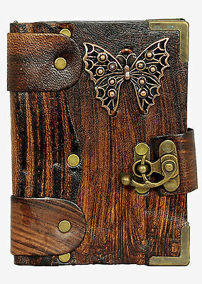 Butterfly Pendant Brown Leather Journal Diary Notebook Vintage Style Art Notepad