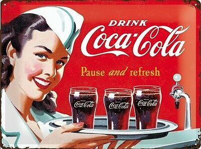 COCA-COLA LARGE EMBOSSED METAL SIGN - STEEL CONVEX - Pause ( Protect Product)