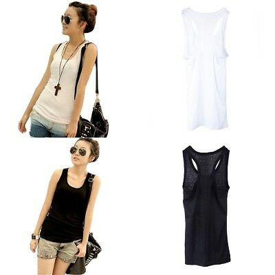 Womens Girl Cotton Cami Vest T-Shirt Blouse Singlet Camisole Sports Tank Top Tee