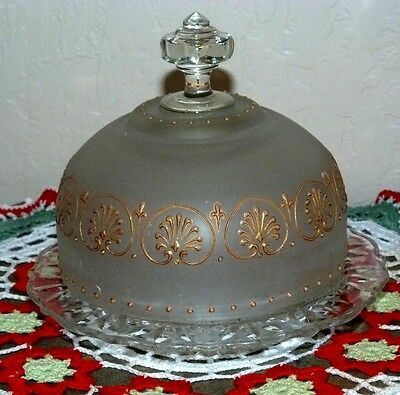 VINTAGE EAPG ROUND COVERED BUTTER DISH-SATIN-GOLD-OYSTER