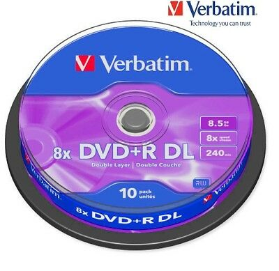 Verbatim DVD+R 8.5GB 8x Speed 240min Recordable Dual Layer Spindle PK 10 (43666)