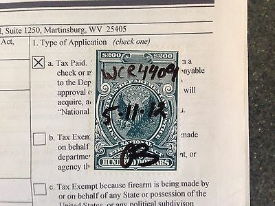 US Firearms Transfer Tax Stamp for SBR, $200 ATF NFA National Firearms Act 1982