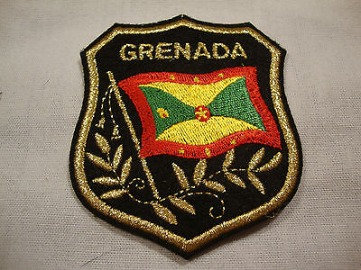 """NEW Grenada Flag 2 1/4"""" x 2"""" Iron on Patch Black Gold Border Badge Glue Red Gree"""