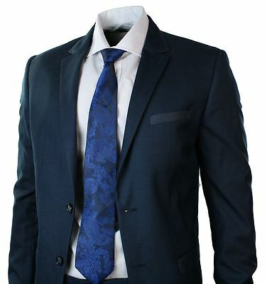 Mens Fitted Navy Suit Blue Trim Blazer Trouser Smart Office Wedding Party Prom