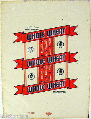 Vintage bread wrapper WHOLE WHEAT woman pictured Mountain Lake Minnesota unused