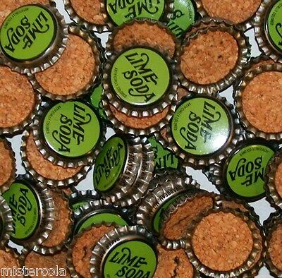 Soda pop bottle caps Lot of 25 LIME SODA cork lined unused new old stock