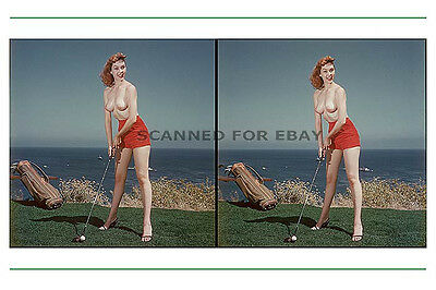 GOLF 3d stereoview bag balls nude girl print Leggy busty legs sexy photo picture