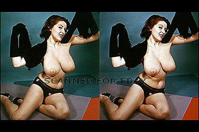 Elaine Reynolds stereoview print nude big busty breasts female girl photo 3d