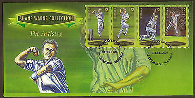 GRENADA 2007 SHANE WARNE - THE ARTISTRY 4v GREEN Borders FDC