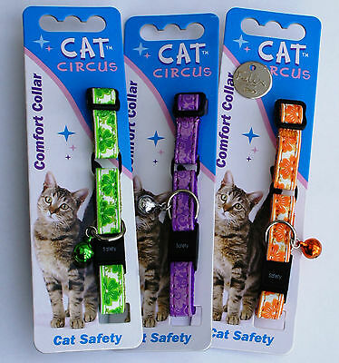 Cat Collar And Id Tag Engraved -  Collars With Flower Print - Special Offer