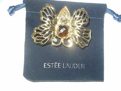 Estee Lauder **Solid Butterfly Compact** 2008 Collectible W/ Velvet Pouch  Empty