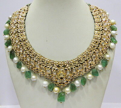 Vintage antique enamel work Solid 20K Gold Diamond emerald pearl Necklace choker