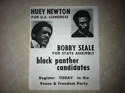 HUEY NEWTON/BOBBY SEALE FOR CONGRESS HANDOUT BLACK PANTHER PARTY *MAKE OFFER*