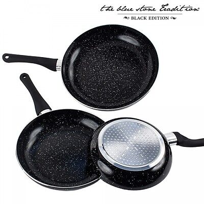SET 3 POÊLES DOUBLE REVÊTEMENT PIERRE NOIR INDUCTION BLACK STONE PAN 20,24,28cm