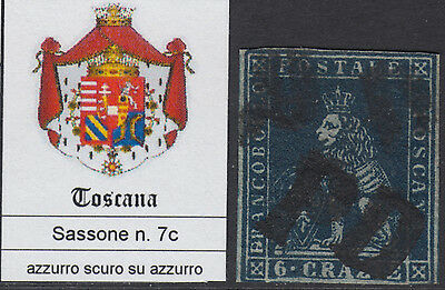 ITALY - TOSCANA - Sassone n. 7c - used - cv 825$ with CERTIFICATE - see scan