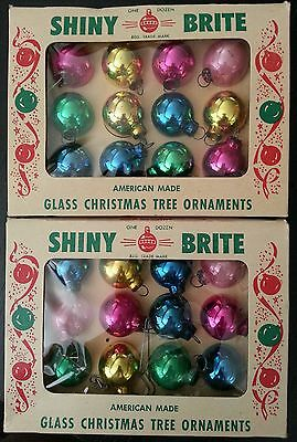 Lot of 24 SHINY BRITE Miniature Glass Christmas Ornaments American Made Vintage