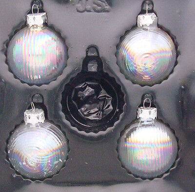 "set of 4 vintage St. Anne blown glass iridescent 2¼"" ball Christmas ornaments"