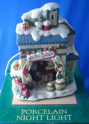 Porcelain Night Light Village Santa's Workshop Dayton Hudson 1995 in BOX