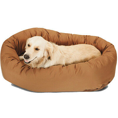 """Brown Chocolate 52"""" Dog Round Bagel Bed Suede Puppy Pet Padded Plush Cushion New"""
