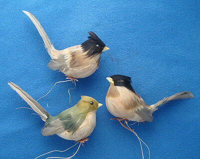 lot of 3 vintage spun cotton feathers birds brown black green Christmas ornament