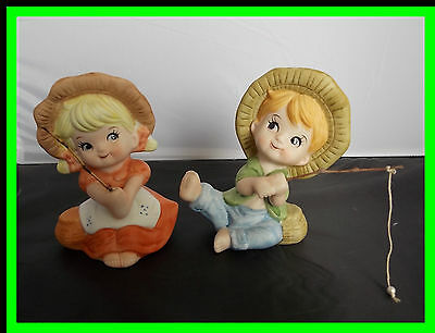 Set of 2 Cute Vintage Porcelain Fishing Boy and Girl Figurines made in Taiwan
